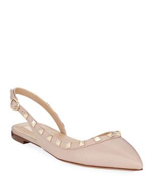 0d3074547be3 Valentino Garavani Rockstud Leather Slingback Ballet Flats