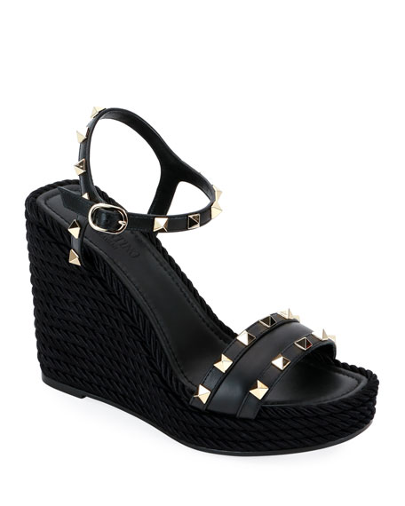 2d008ce5cf0 Valentino Rockstud Torchon Espadrille Wedge Sandals In Black