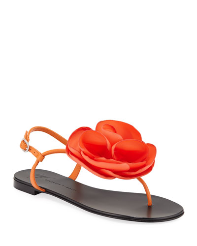 Leather Thong Sandal with Flower Detail