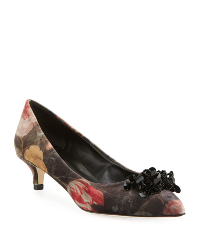 Belia Kitten-Heel Velvet Ornament Pumps