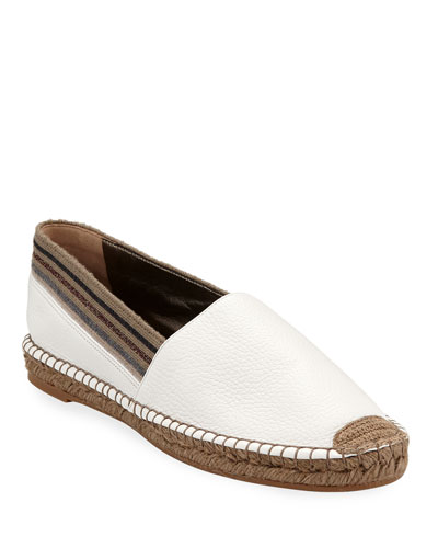 Flat Leather Slip-On Espadrilles with Striped Cuff