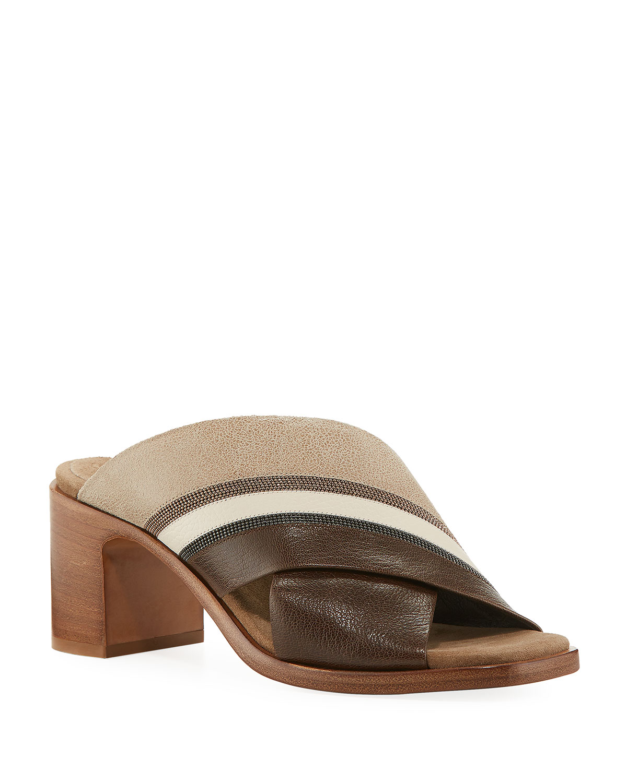 5bbe9f55ca83 Brunello Cucinelli Colorblock Crisscross Sandals   Neiman Marcus