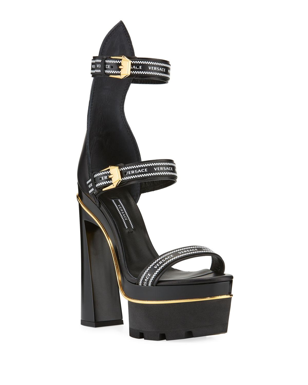 02cbed68398 Versace Triple Strap Platform High-Heel Sandals