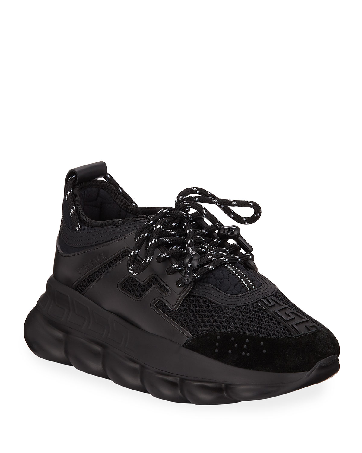 Versace Chain Reaction Mesh Chunky Heel Sneakers Neiman