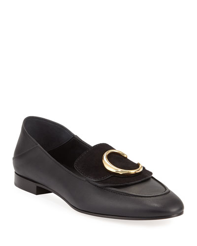 C Leather Flat Fold-Down Loafers