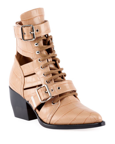 Rylee Croco Cutout Block-Heel Lace-Up Combat Boots