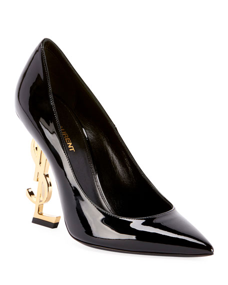 Opyum Patent 110Mm Ysl-Heel Pumps - Golden Hardware in Black