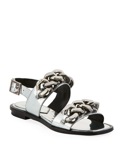 Adrien Flat Chain-Embellished Sandals