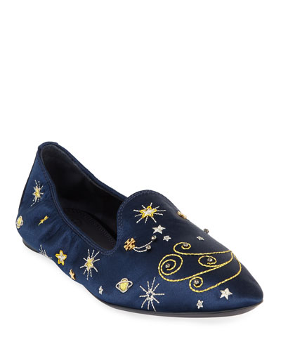 Olympia Embroidered Smoking Loafers