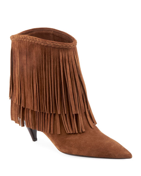 Charlotte Fringed Suede Booties in Tan