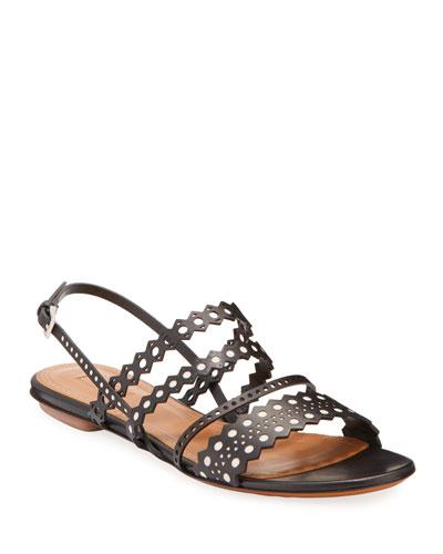 Flat Laser-Cut Chamois Slingback Sandals