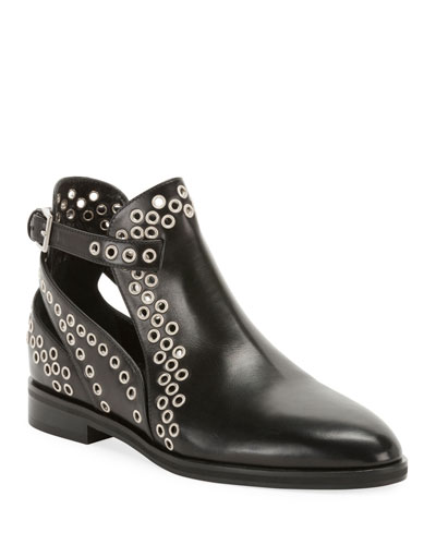 Leather Booties with Grommets