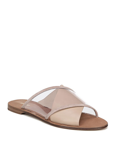 Bailie-4 Clear Crisscross Slide Sandals