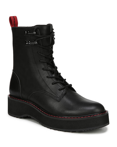 Lace-Up Leather Combat Boots