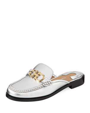 dbac74424a7f Salvatore Ferragamo Viggio Flat Mule Loafers with Reversible Gancini Bit