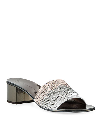 Ombré Crystal Slide Sandals