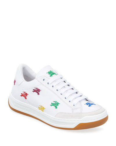 Timsbury Rainbow Knight Embroidered Leather Sneakers