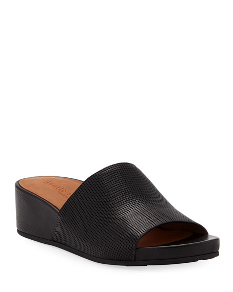 Gentle Souls Gisele Perforated Leather Demi-Wedge Slide Sandals