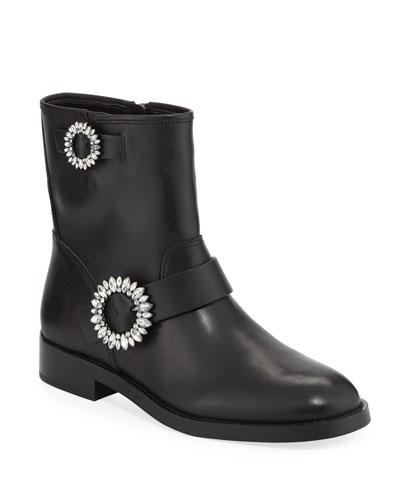Viola Embellished Leather Moto Boots