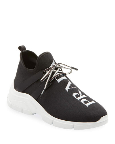 Knit Logo Lace-Up Sneakers