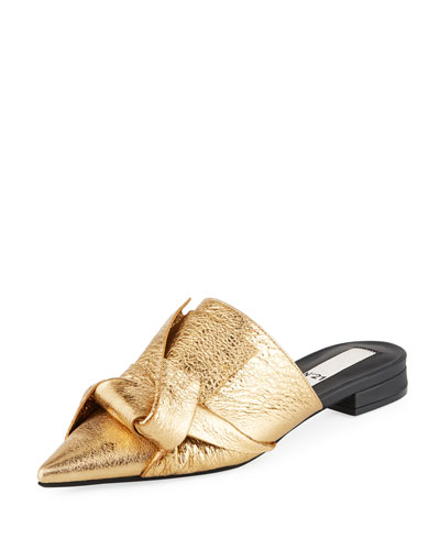 Crash Knotted Metallic Mules