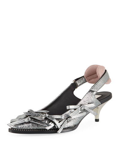 Volcano Multi-Bow Metallic Leather Slingback Pumps