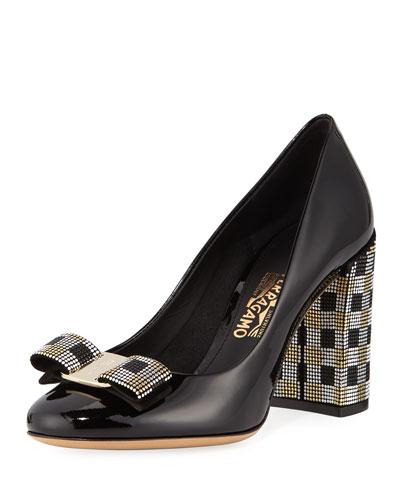 8aeaf3ca53 Salvatore Ferragamo Vara Mosaic Block-Heel Pumps from Neiman Marcus ...