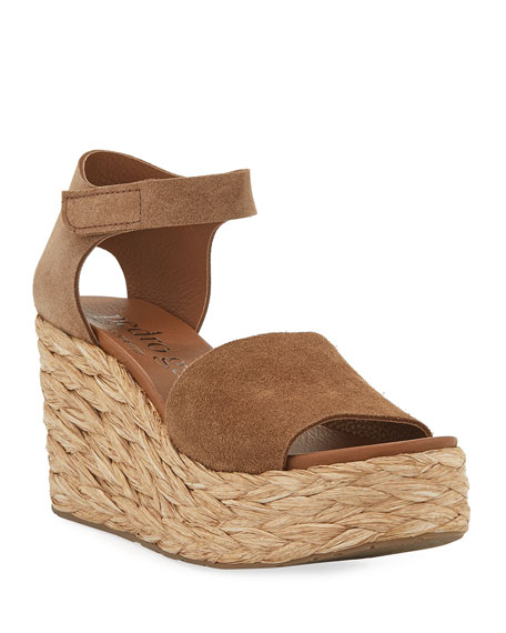 Pedro Garcia DORY SUEDE LOW-WEDGE ESPADRILLE SANDALS