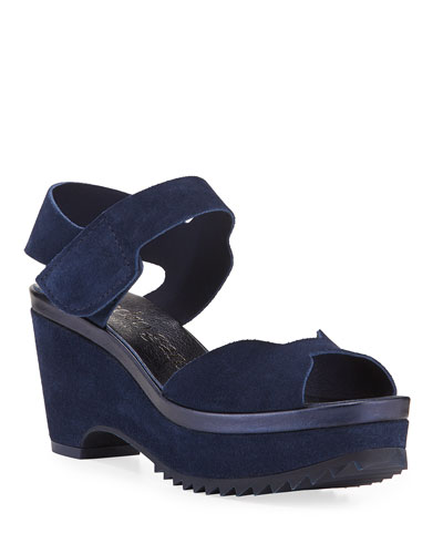 Fah Suede  Wedge Sandals