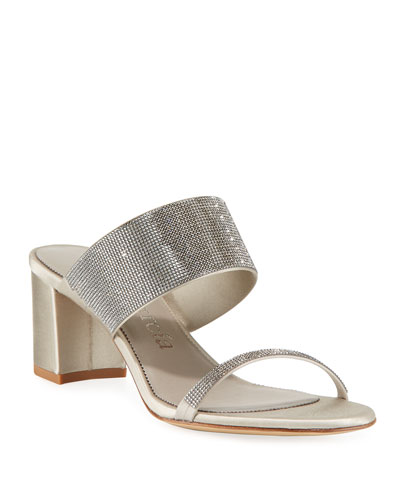 Xina Crystal-Embellished Satin Mule Sandals