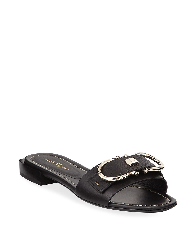 79d56d652000 Salvatore Ferragamo Solar Logo Gancini Slide Sandals