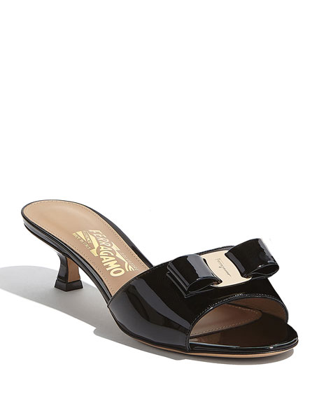 Salvatore Ferragamo Ginostra Patent Bow Slide Sandals, Black