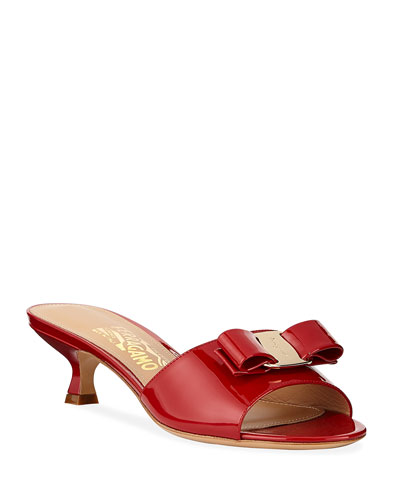 Ginostra Patent Bow Slide Sandals  Rosso