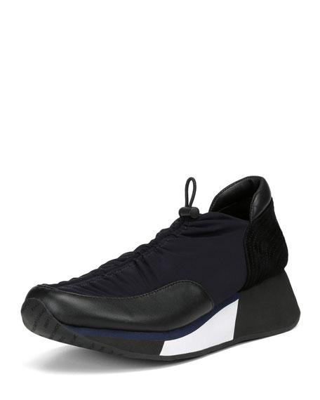 Donald J Pliner Prinze-D Pull-Tab Crepe Elastic Sneakers