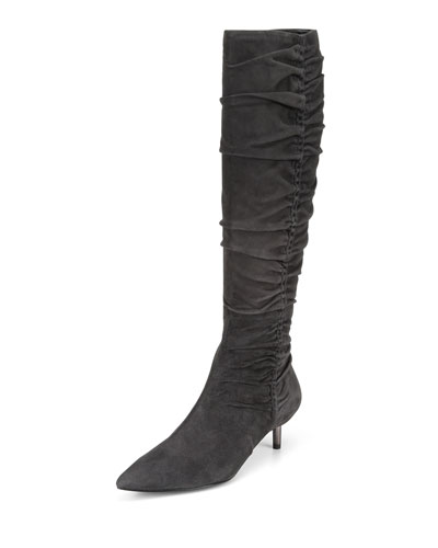 Barita Scrunched Suede Knee Boots