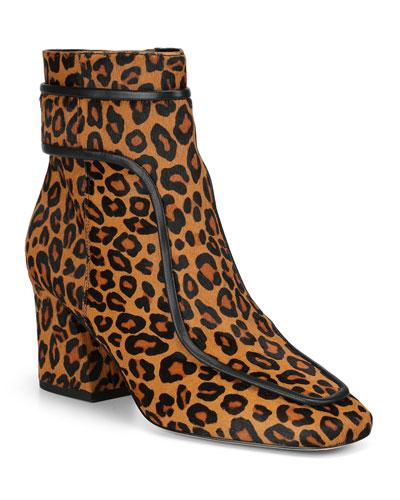 Geena Leopard Block Heel Booties