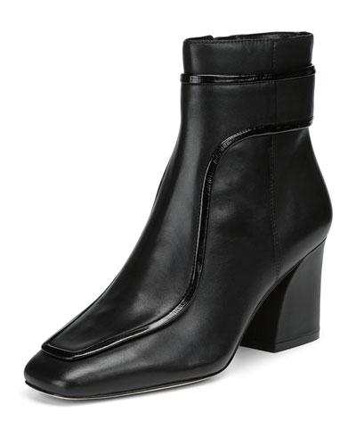 Geena Leather Block Heel Booties
