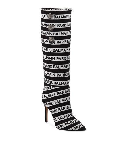 Jane Logo-Jacquard Knee Boots