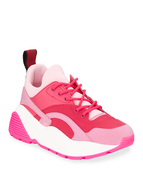 Eclypse Faux Leather, Faux Suede And Neoprene Sneakers in Pink
