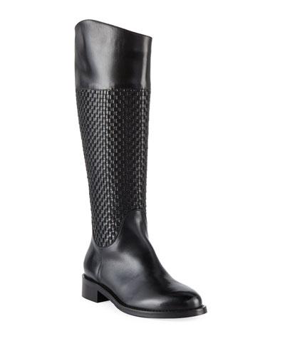 Zelima Woven Leather Knee Boots