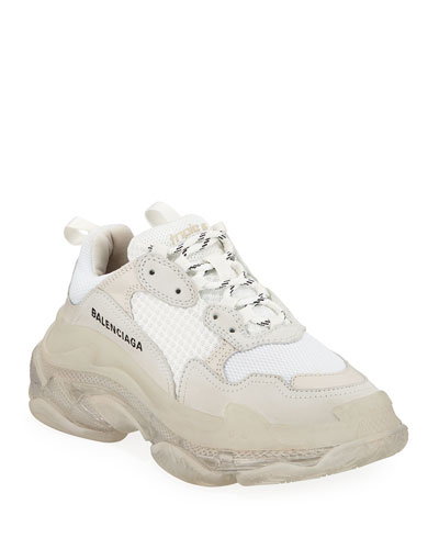 Triple S Air Nylon Sneakers with Logo  Blanc