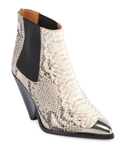 Lemsey Snake-Print Leather Ankle Booties