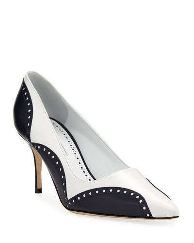 Minisialo Two-Tone Leather Brogue Pumps