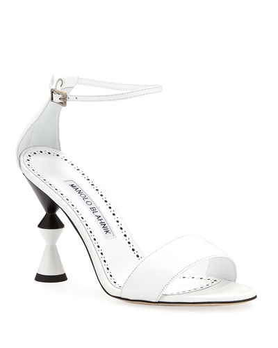 Leda Leather Ankle-Wrap Sandals with Sculpted Heel