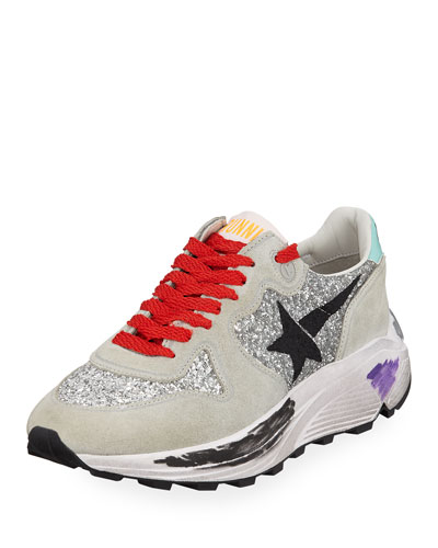 Glitter & Suede Running Sneakers