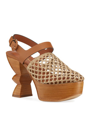 36636f9757 Salvatore Ferragamo Antium Woven Sculptural Platform Sandals