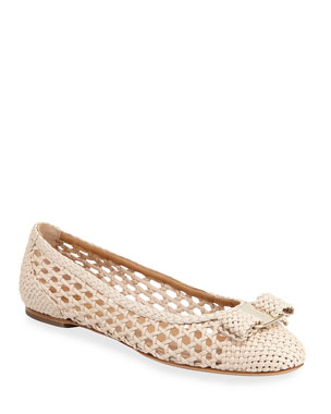 8a585e285c0d Salvatore Ferragamo Varina Woven Leather Ballet Flats