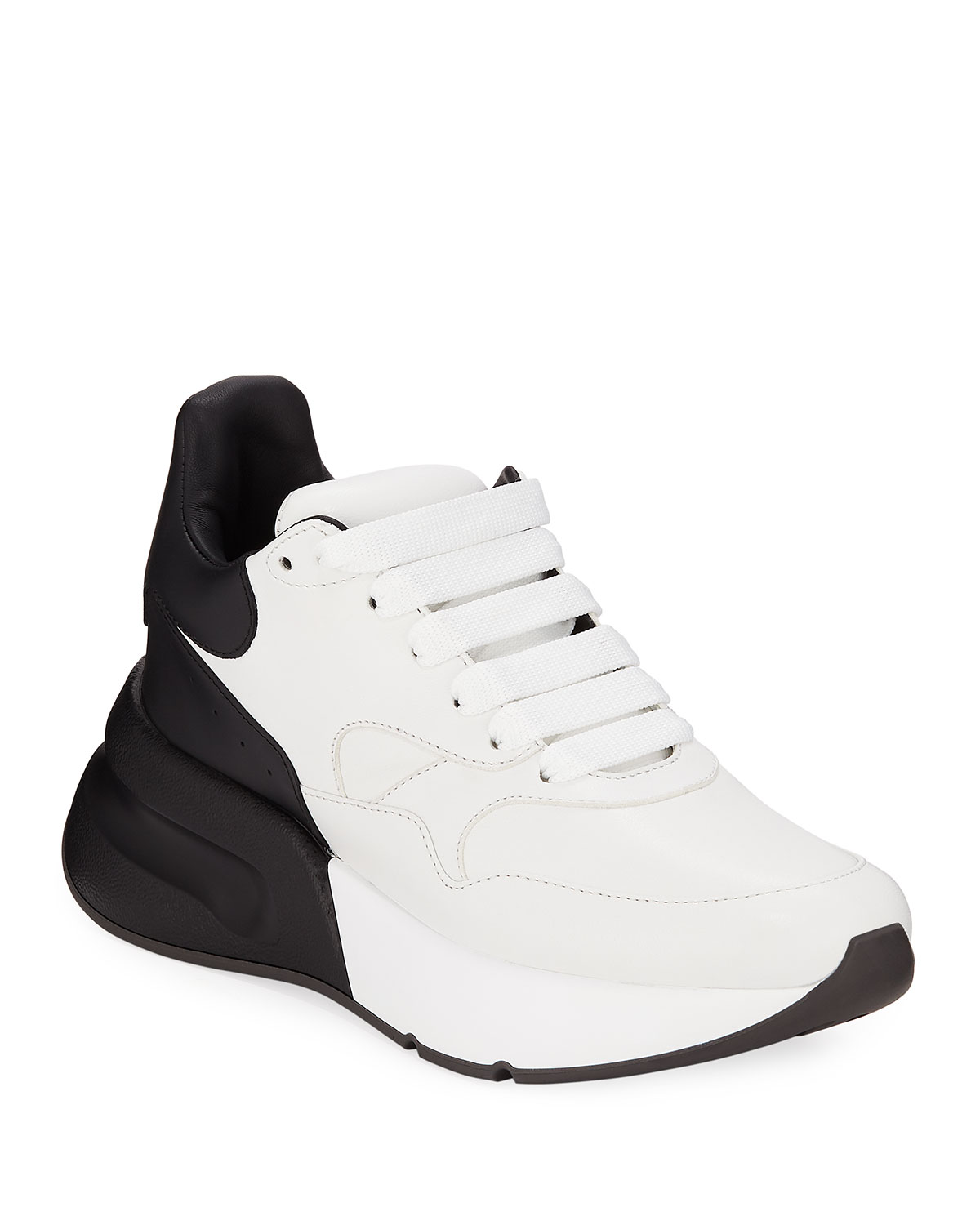Alexander McQueen Two-Tone Runner Sneakers with Exaggerated Sole ... b1a8143b480e