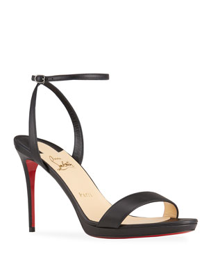 3a42b3e17e88 Christian Louboutin Loubi Queen Red Sole Ankle-Wrap Sandals