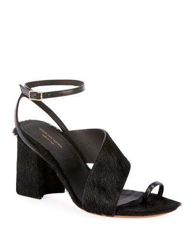 Asymmetric-Strap Calf Hair Chunky Sandals